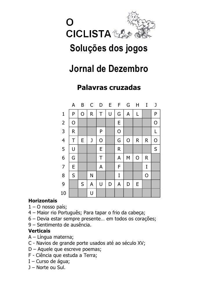 Soluções dos jogos                  Jornal de Dezembro                      Palavras cruzadas                  A    B   C ...