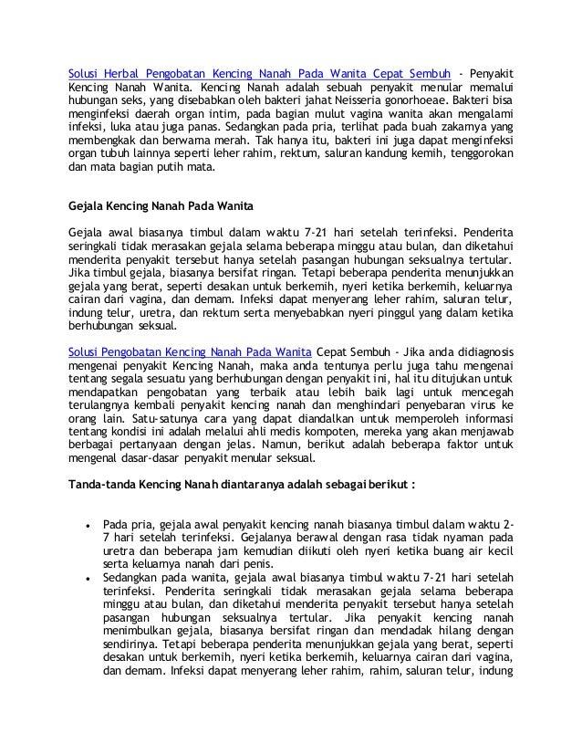 Solusi Herbal Pengobatan Kencing Nanah Pada Wanita Cepat Sembuh - Penyakit Kencing Nanah Wanita. Kencing Nanah adalah sebu...