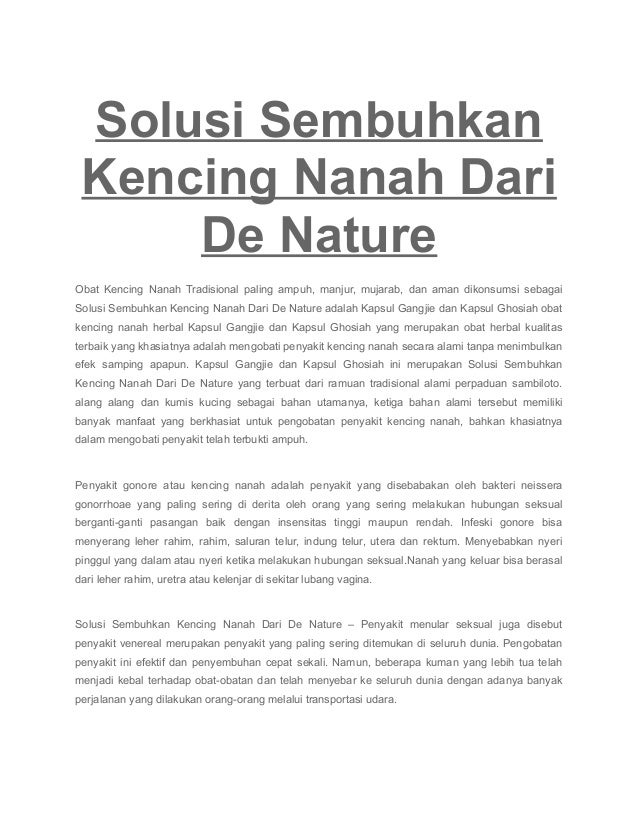 Solusi Sembuhkan Kencing Nanah Dari De Nature Obat Kencing Nanah Tradisional paling ampuh, manjur, mujarab, dan aman dikon...