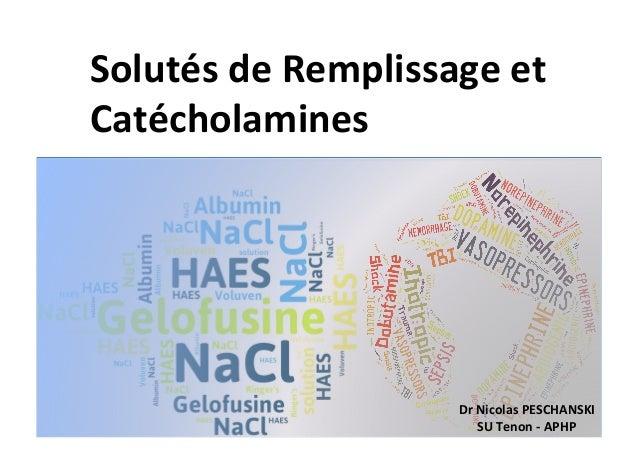 Solutés(de(Remplissage(et( Catécholamines( Dr(Nicolas(PESCHANSKI( SU(Tenon(@(APHP(