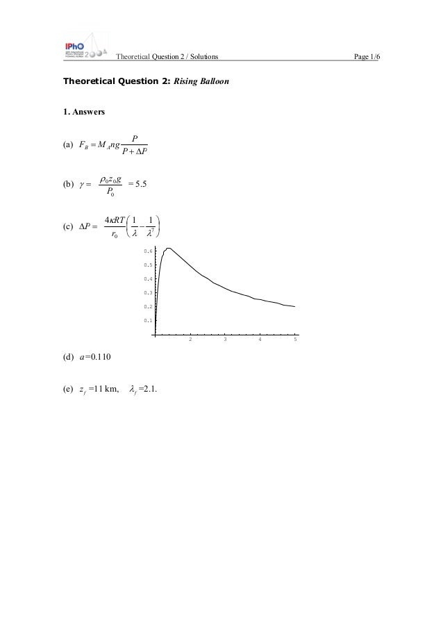 Theoretical Question 2 / Solutions Page 1/6 Theoretical Question 2: Rising Balloon 1. Answers (a) PP P ngMF AB ∆+ = (b) =γ...