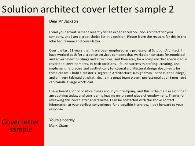 Oracle solution architect cover letter