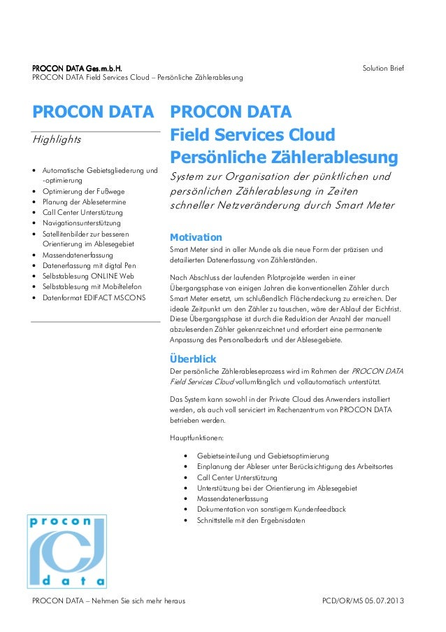PROCON DATAPROCON DATAPROCON DATAPROCON DATA Ges.m.b.HGes.m.b.HGes.m.b.HGes.m.b.H.... Solution Brief PROCON DATA Field Ser...