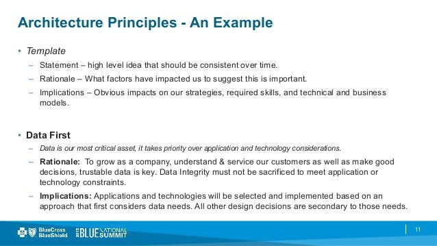 11 Architecture Principles - An Example • Template – Statement – high level idea that should be consistent over time. –...