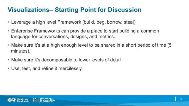 13 Visualizations– Starting Point for Discussion • Leverage a high level Framework (build, beg, borrow, steal) • Enterpr...