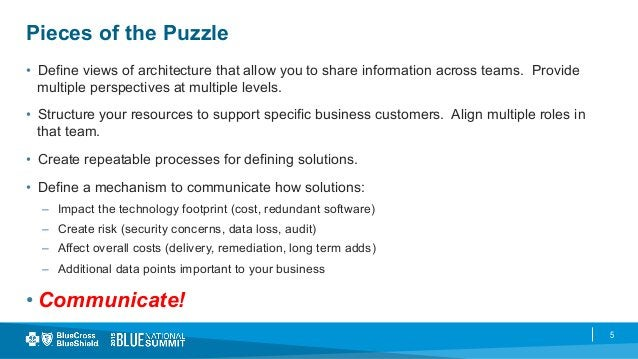 5 Pieces of the Puzzle • Define views of architecture that allow you to share information across teams. Provide multiple ...