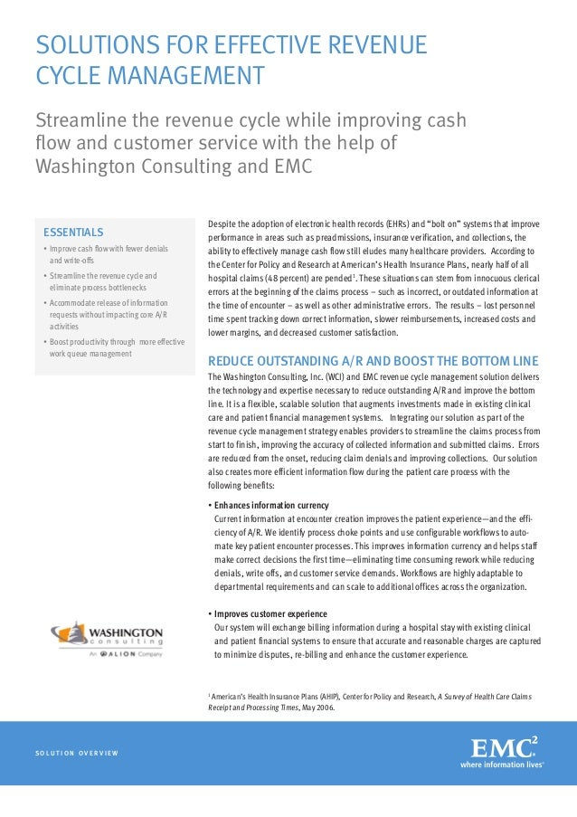 Solutions for Effective Revenue Cycle Management Streamline the revenue cycle while improving cash flow and customer servi...