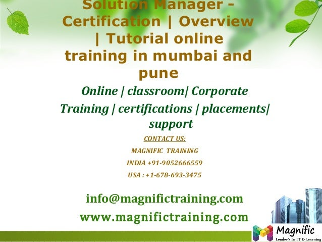 Solution Manager - Certification | Overview | Tutorial online training in mumbai and pune Online | classroom| Corporate Tr...