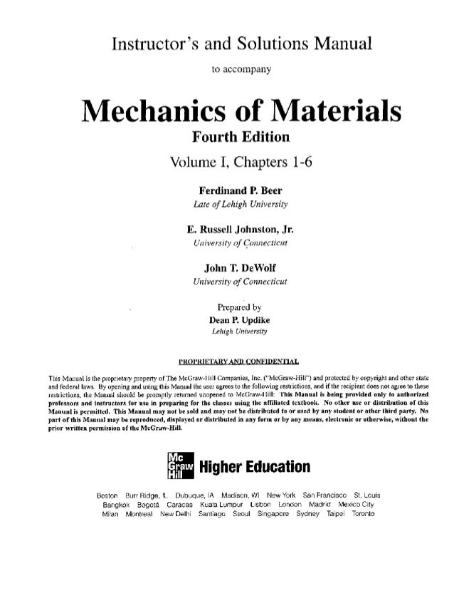 Solutionmanual mechanicsofmaterials4theditionbeerjohnston