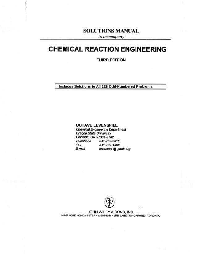 solution manual chemical reaction engineering 3rd edition octave lev rh slideshare net chemical reaction engineering levenspiel 2nd edition solution manual pdf chemical reaction engineering levenspiel 2nd edition solution manual pdf