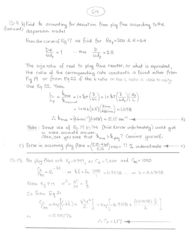 essentials of chemical reaction engineering solutions manual