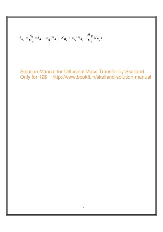 solution manual for diffusinal by skelland