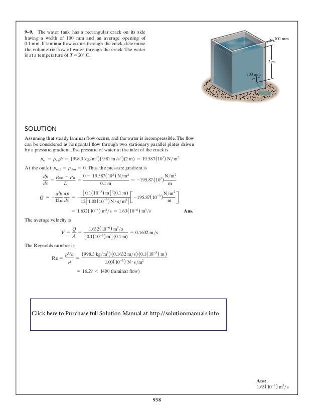fluid mechanics hibbeler solution manual