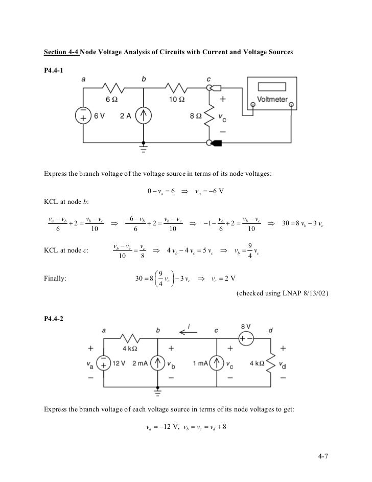 solution manual for introduction to electric circuits58 section 4 4 node voltage analysis of circuits with