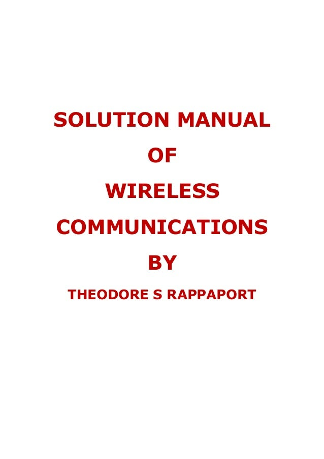 solution manual of wireless communications by theodore s rappaport rh slideshare net