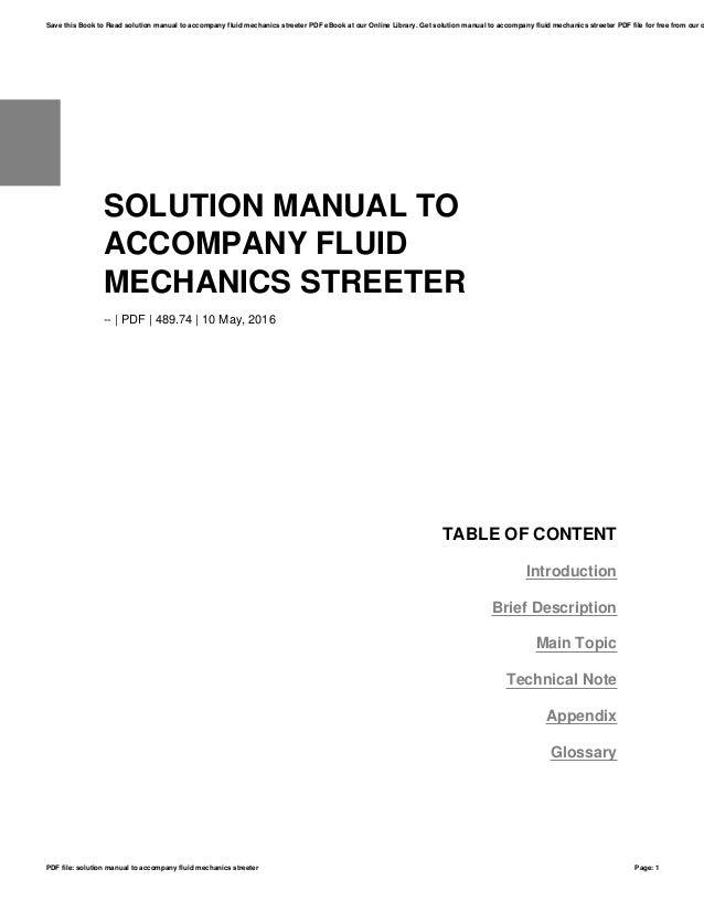 solution manual to accompany fluid mechanics streeter rh slideshare net Fluid Mechanics Equations fluid mechanics streeter 3rd edition solution manual