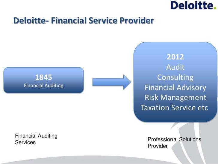 Deloitte- Financial Service Provider                                       2012                                       Audi...