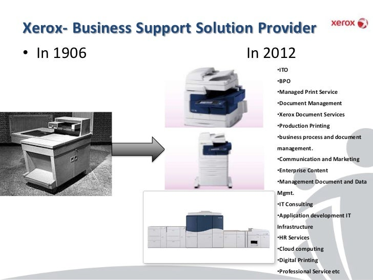 Xerox- Business Support Solution Provider• In 1906                      In 2012                                   •ITO    ...