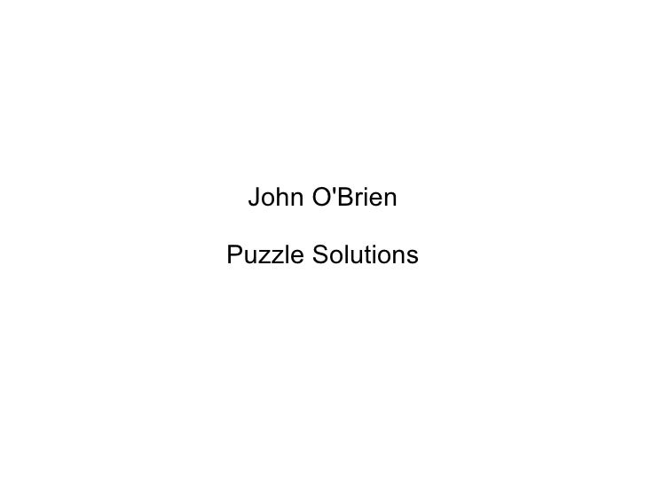 John O'Brien Puzzle Solutions