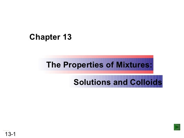 The Properties of Mixtures: Solutions and Colloids Chapter 13