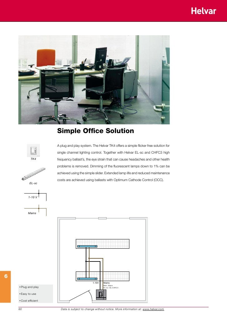 Simple Office Solution                         A plug and play system. The Helvar TK4 offers a simple flicker free solutio...