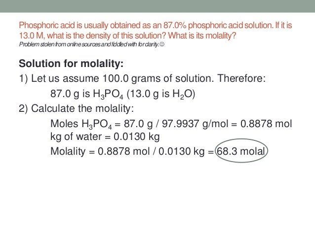 how to get molarity from density