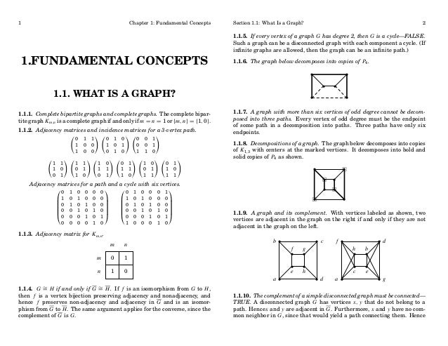 1  Chapter 1: Fundamental Concepts  1.FUNDAMENTAL CONCEPTS  Section 1.1: What Is a Graph?  2  1.1.5. If every vertex of a ...