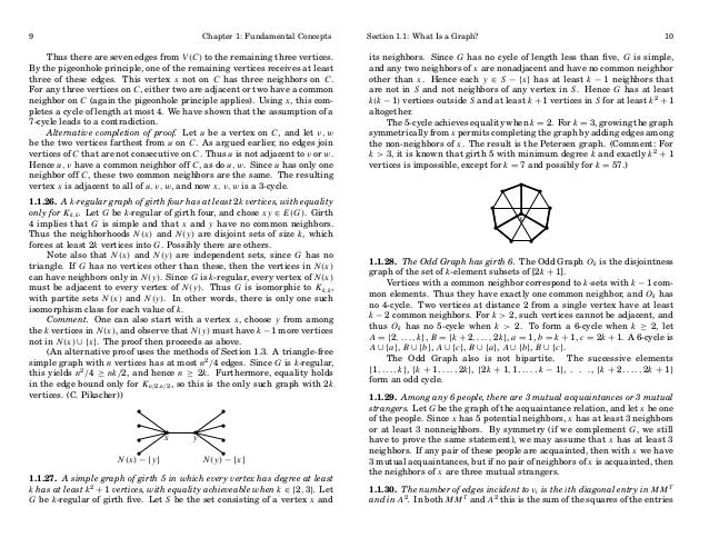 9  Chapter 1: Fundamental Concepts  Thus there are seven edges from V (C) to the remaining three vertices. By the pigeonho...