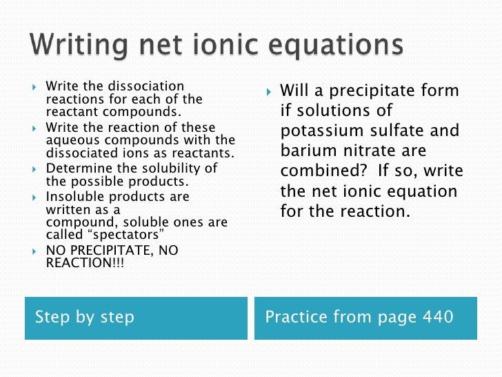 solubility and spectator ions