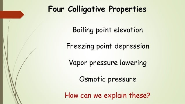 the colligative property For ionic solutes, the calculation of colligative properties must include the fact that the solutes separate into multiple particles when they dissolve the equations for calculating colligative properties of solutions of ionic solvents include the van't hoff factor, i .