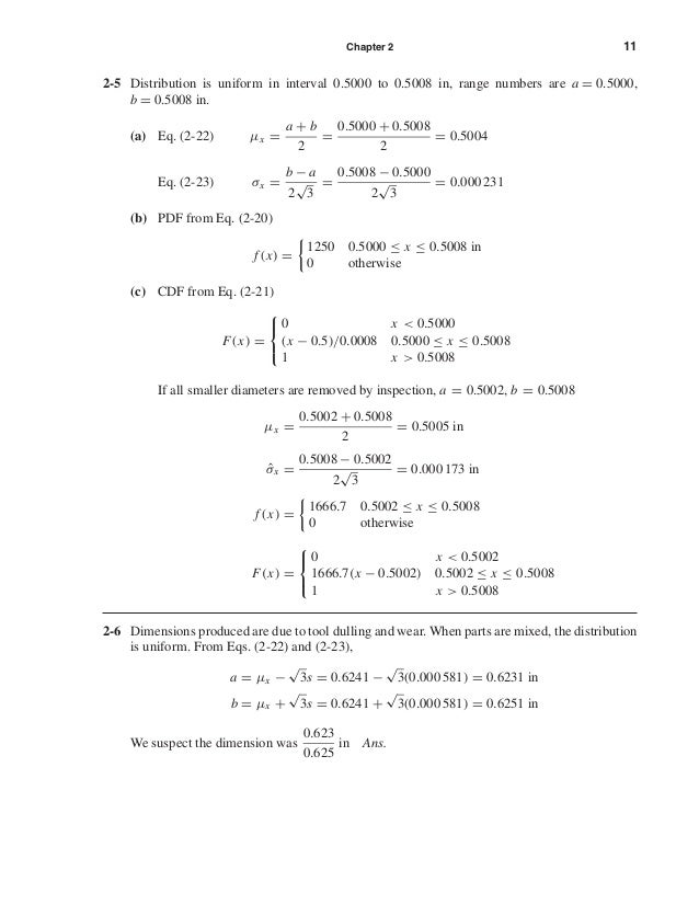Chapter 2 11 2-5 Distribution is uniform in interval 0.5000 to 0.5008 in, range numbers are a = 0.5000, b = 0.5008 in. (a)...