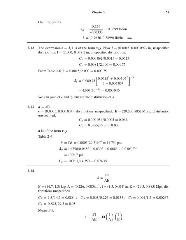 Chapter 2 17 (b) Eq. (2-35) s ˆm = 0.556 √ 2.0333 = 0.3899 lbf/in k = (9.7656, 0.3899) lbf/in Ans. 2-12 The expression = δ...
