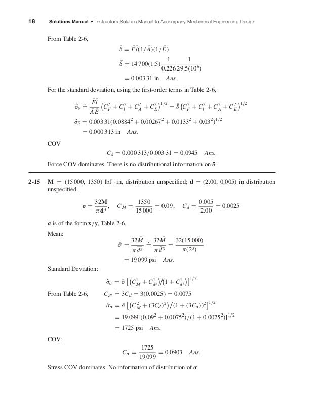 18 Solutions Manual • Instructor's Solution Manual to Accompany Mechanical Engineering Design From Table 2-6, ¯δ = ¯F ¯l(1...