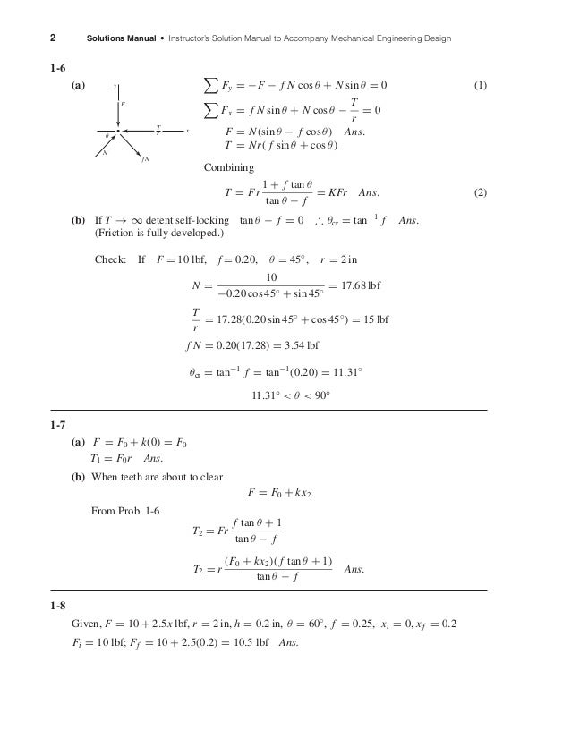 2 Solutions Manual • Instructor's Solution Manual to Accompany Mechanical Engineering Design 1-6 (a) Fy = −F − f N cos θ +...