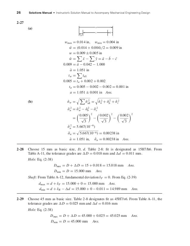 26 Solutions Manual • Instructor's Solution Manual to Accompany Mechanical Engineering Design 2-27 (a) wmax = 0.014 in, wm...