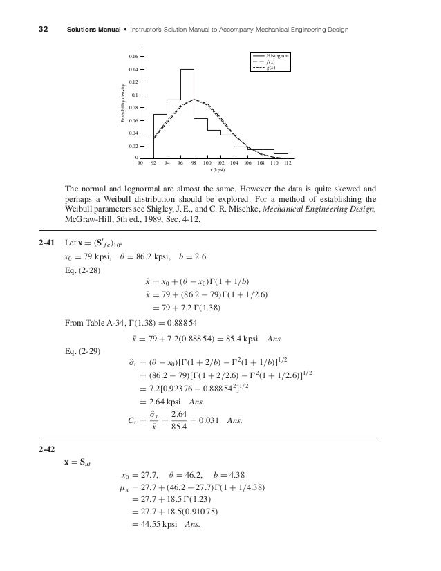 32 Solutions Manual • Instructor's Solution Manual to Accompany Mechanical Engineering Design The normal and lognormal are...
