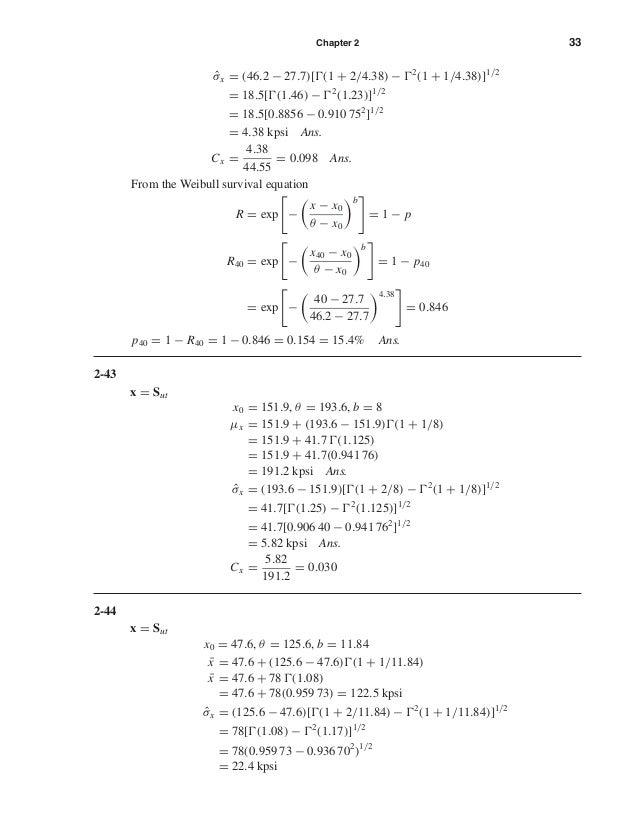 Chapter 2 33 ˆσx = (46.2 − 27.7)[ (1 + 2/4.38) − 2 (1 + 1/4.38)]1/2 = 18.5[ (1.46) − 2 (1.23)]1/2 = 18.5[0.8856 − 0.910 75...