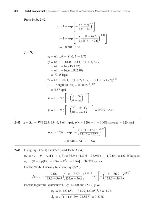 34 Solutions Manual • Instructor's Solution Manual to Accompany Mechanical Engineering Design From Prob. 2-42 p = 1 − exp ...