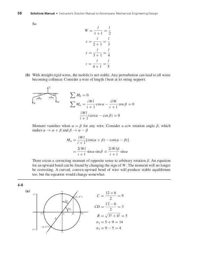 58 Solutions Manual • Instructor's Solution Manual to Accompany Mechanical Engineering Design So W = l 1 + 1 = l 2 x = l 2...