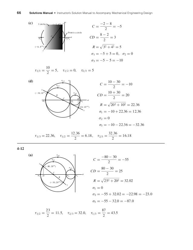 66 Solutions Manual • Instructor's Solution Manual to Accompany Mechanical Engineering Design (c) C = −2 − 8 2 = −5 CD = 8...