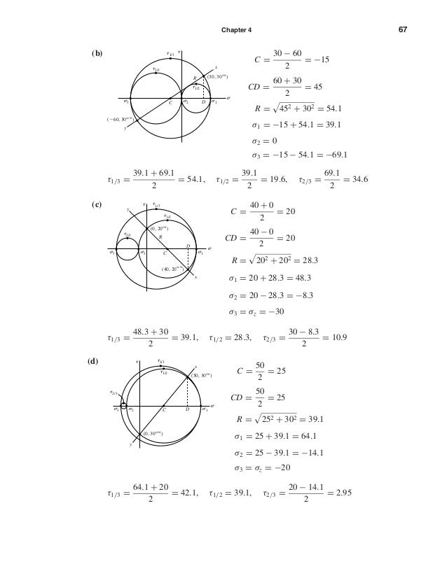 Chapter 4 67 (b) C = 30 − 60 2 = −15 CD = 60 + 30 2 = 45 R = 452 + 302 = 54.1 σ1 = −15 + 54.1 = 39.1 σ2 = 0 σ3 = −15 − 54....