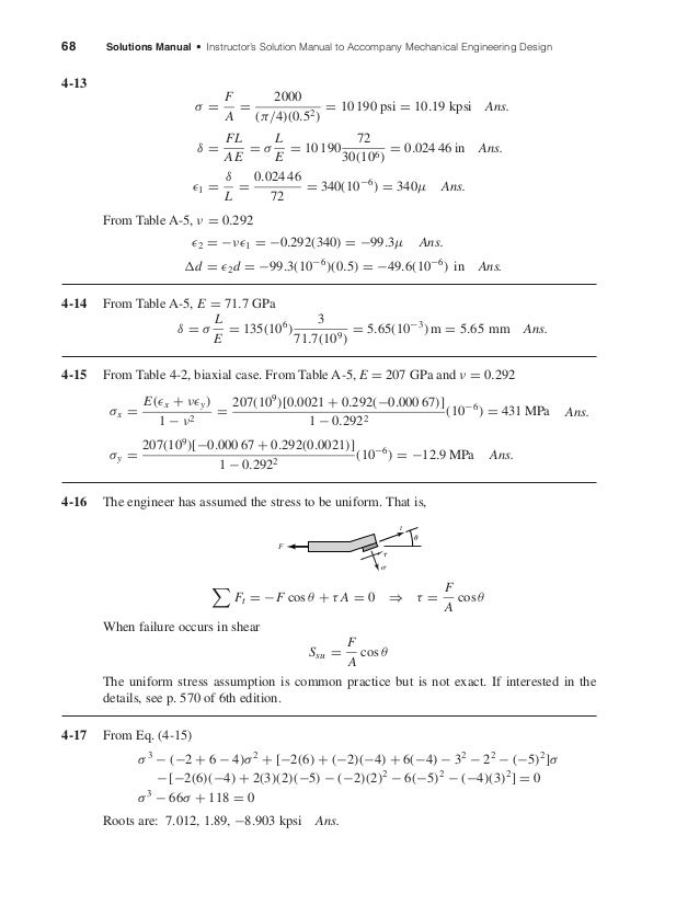 68 Solutions Manual • Instructor's Solution Manual to Accompany Mechanical Engineering Design 4-13 σ = F A = 2000 (π/4)(0....