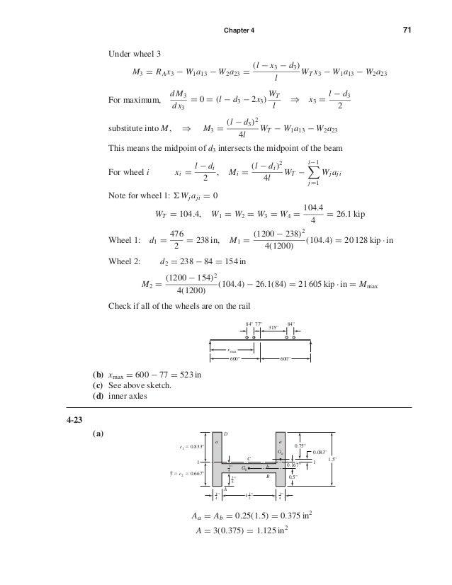 Chapter 4 71 Under wheel 3 M3 = RAx3 − W1a13 − W2a23 = (l − x3 − d3) l WT x3 − W1a13 − W2a23 For maximum, dM3 dx3 = 0 = (l...