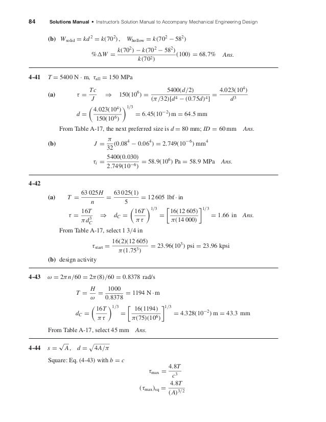 84 Solutions Manual • Instructor's Solution Manual to Accompany Mechanical Engineering Design (b) Wsolid = kd2 = k(702 ), ...