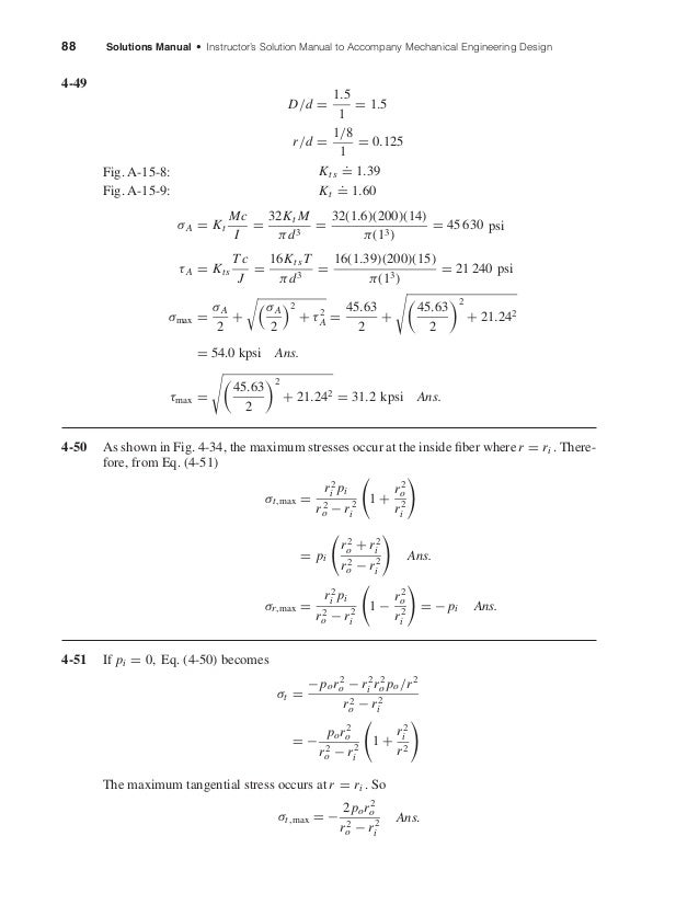 88 Solutions Manual • Instructor's Solution Manual to Accompany Mechanical Engineering Design 4-49 D/d = 1.5 1 = 1.5 r/d =...
