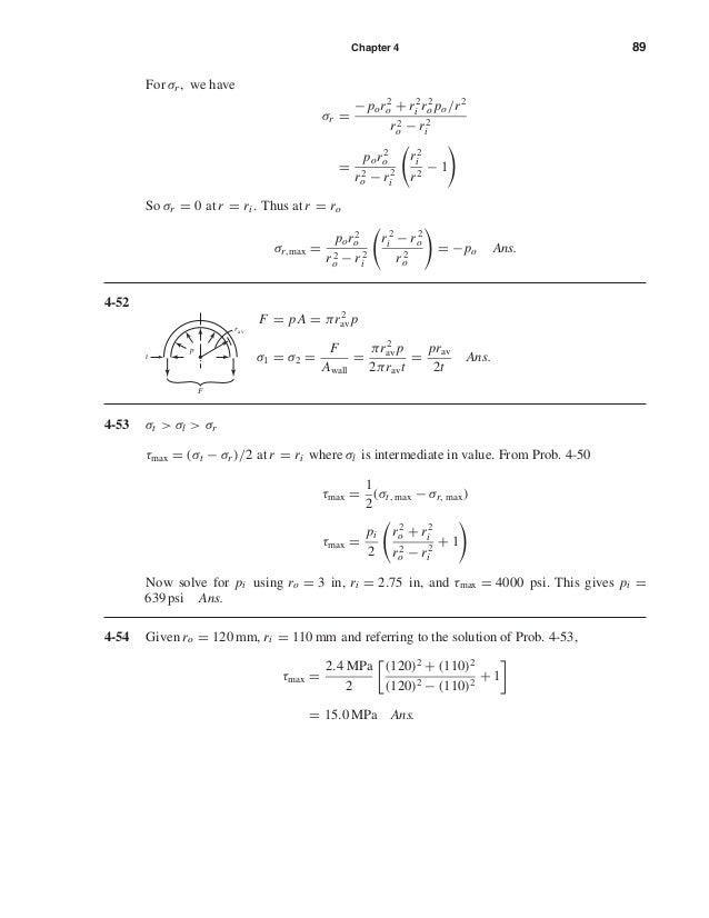 Chapter 4 89 For σr , we have σr = −por2 o + r2 i r2 o po/r2 r2 o − r2 i = por2 o r2 o − r2 i r2 i r2 − 1 So σr = 0 at r =...