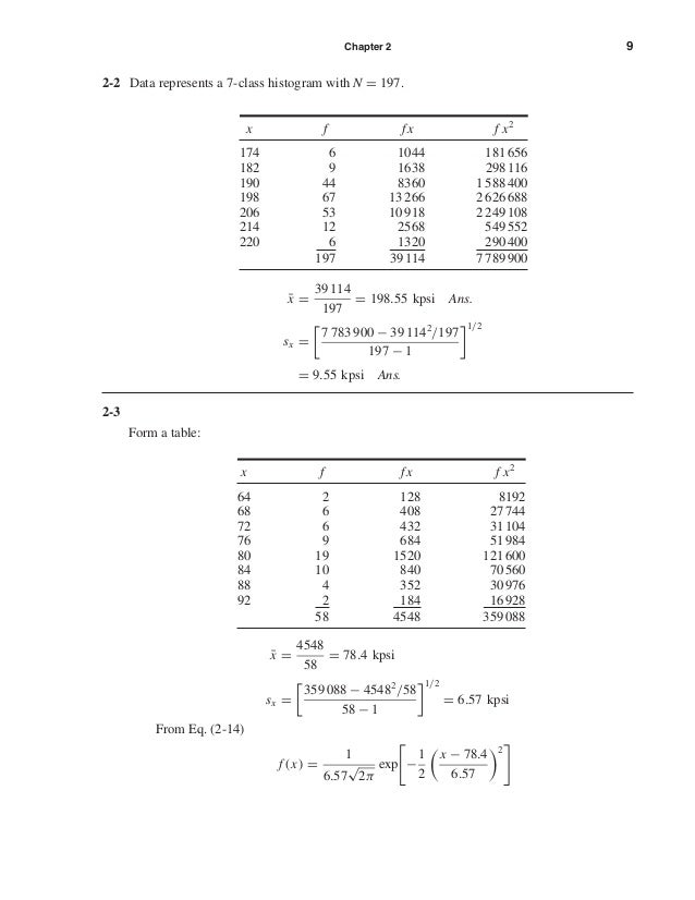 Chapter 2 9 2-2 Data represents a 7-class histogram with N = 197. 2-3 Form a table: ¯x = 4548 58 = 78.4 kpsi sx = 359 088 ...