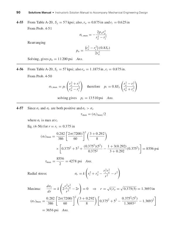 90 Solutions Manual • Instructor's Solution Manual to Accompany Mechanical Engineering Design 4-55 From Table A-20, Sy = 5...
