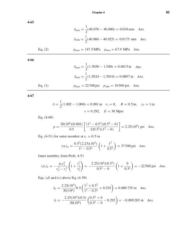 Chapter 4 93 4-65 δmax = 1 2 (40.076 − 40.000) = 0.038 mm Ans. δmin = 1 2 (40.060 − 40.025) = 0.0175 mm Ans. Eq. (2) pmax ...