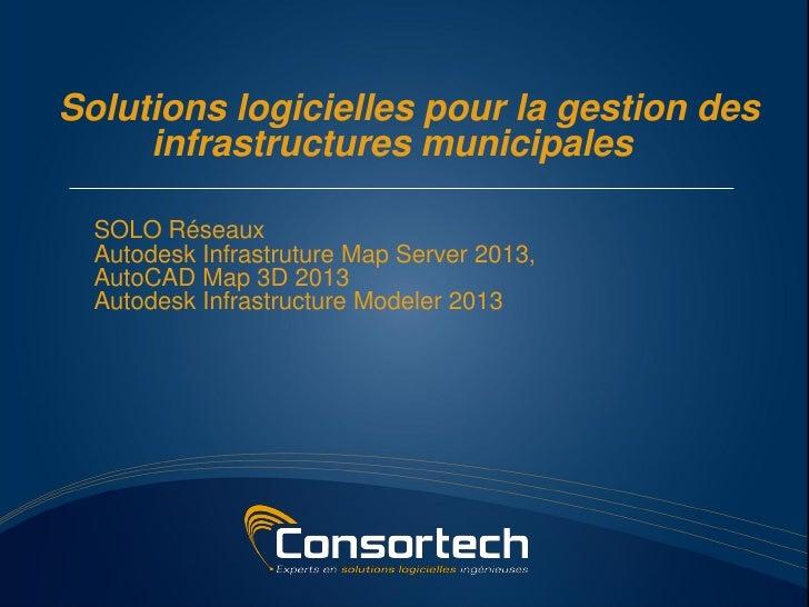 Solutions logicielles pour la gestion des     infrastructures municipales  SOLO Réseaux  Autodesk Infrastruture Map Server...